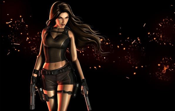 Картинка взгляд, девушка, оружие, волосы, пистолеты, арт, Tomb Raider, черный фон, Lara Croft