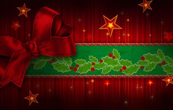 Картинка цвета, звезды, зеленый, ленты, green, милая, красота, colors, colorful, Рождество, red, красивая, star, Happy New …