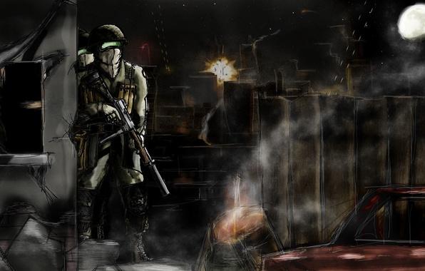 Картинка небо, ночь, оружие, луна, рисунок, взрывы, арт, солдаты, пост, трассеры