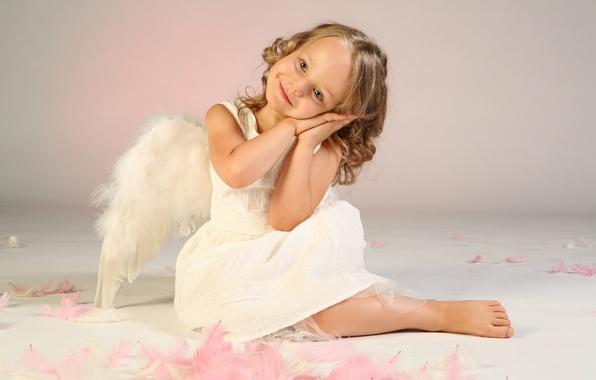 Картинка радость, счастье, дети, детство, ребенок, крылья, ангел, перья, милый, красивый, wings, beautiful, feathers, angel, child, …