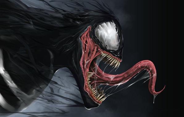 Картинка язык, слюна, Marvel, Comics, Веном, Venom