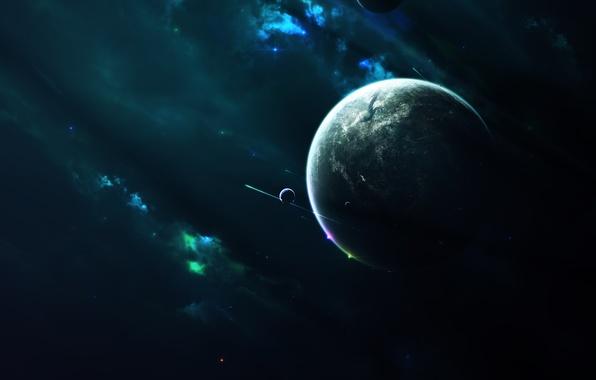 Картинка звезды, свет, туманность, планета, спутники