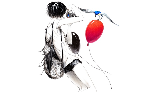 Картинка шарики, шорты, Девушка, фотоаппарат, птичка, рюкзак, короткие волосы