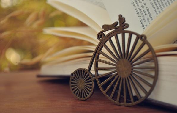 Картинка велосипед, фон, обои, колесо, книга, разное, книжка, страницы, wallpapers