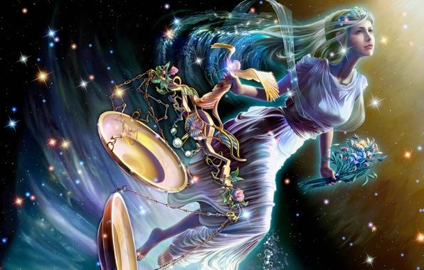 Картинка девушка, космос, цветы, ночь, букет, звёзды, северное сияние, фэнтези, space, Весы, полёт, fantasy, созвездие, stars, …