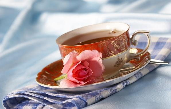 Картинка цветок, чай, роза, чаепитие, чашка, салфетка