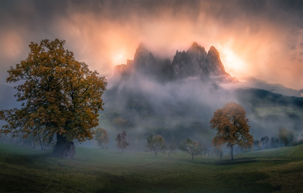 Картинка осень, горы, туман, утро