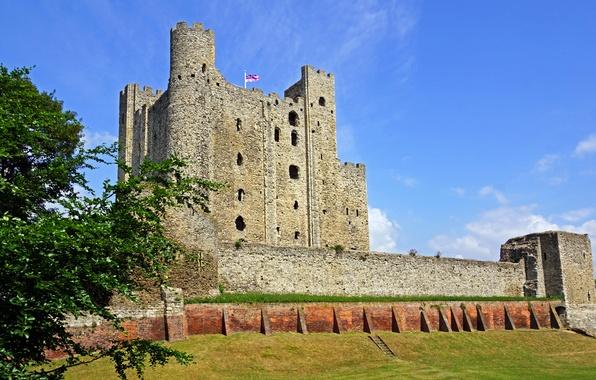 Картинка замок, стены, Англия, башни, крепость, Rochester Castle