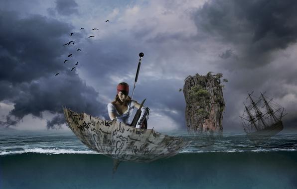 Картинка море, девушка, скала, зонтик, парусник, ситуация, зонт, пират, фрегат