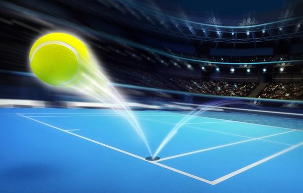 Картинка поле, абстракция, огни, мяч, скорость, траектория, шлейф, приборы, арт, трибуны, болельщики, стадион, места, tennis, корт, …
