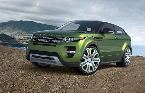 Картинка car, машина, авто, green, Land Rover, Range Rover, зелёная, avto, Evoque, Ленд Ровер, Эвок, Рендж …