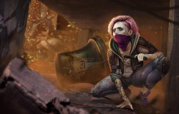 Картинка взгляд, девушка, пистолет, война, арт, руины, колокол, Homefront: The Revolution