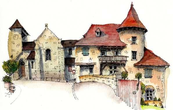 Картинка город, дом, краски, рисунок, Франция, арт, Кюрмонт