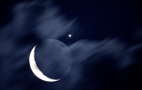 Картинка космос, спутник, месяц, Луна