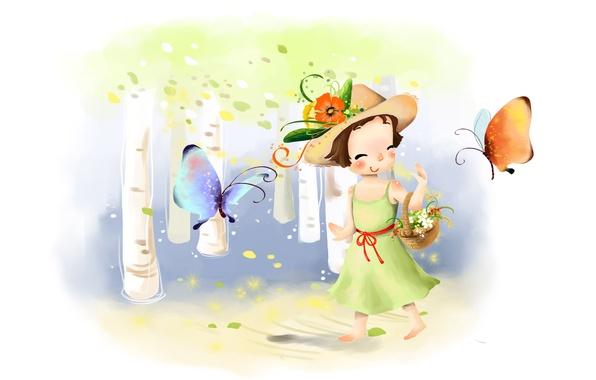 Картинка цветы, улыбка, бабочка, рисунок, шляпа, платье, девочка, корзинка, берёзы, лужайка