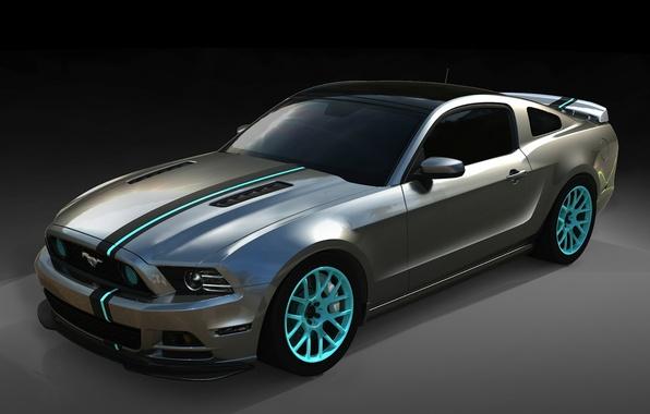 Картинка полосы, фон, тюнинг, Mustang, Ford, Форд, Мустанг, диски, tuning, передок, Muscle car, Мускул кар, SEMA, ...