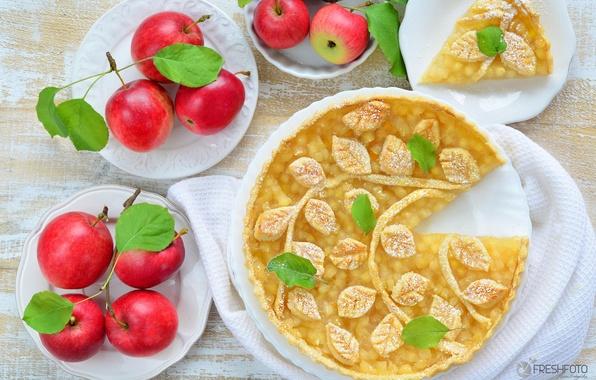 Картинка яблоки, пирог, выпечка, декор