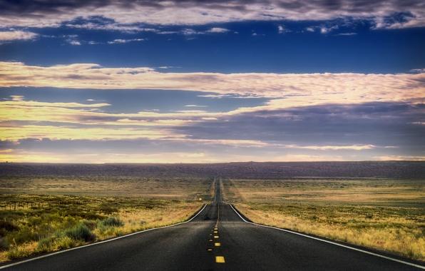 Картинка дорога, небо, трава, облака, горы, природа, пути, путь, пустыня, пейзажи, дороги, гора, облако, сша, way, …