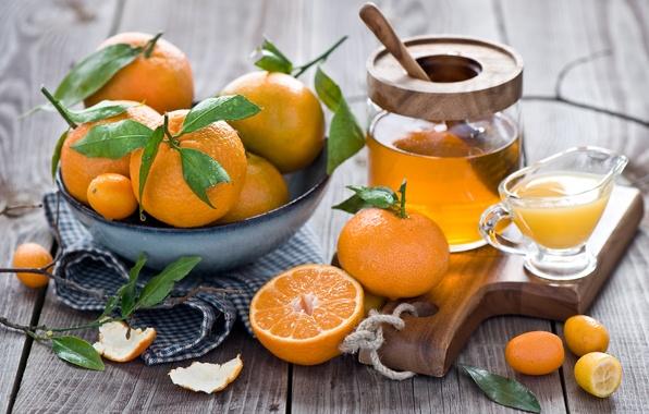 Картинка зима, листья, сок, мед, посуда, фрукты, натюрморт, оранжевые, цитрусы, кожура, мандарины, Anna Verdina, кумкват