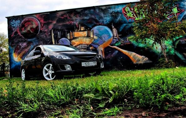 Картинка Дерево, Трава, Граффити, Mazda 6