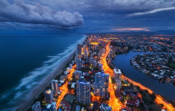 Фото обои огни, берег, вечер, Австралия, золотой