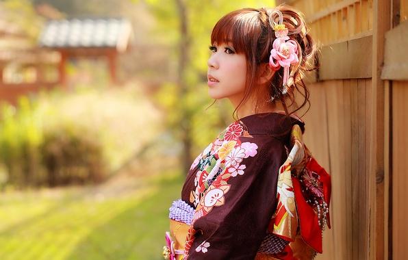 Картинка взгляд, девушка, лицо, стиль, одежда, кимоно, азиатка