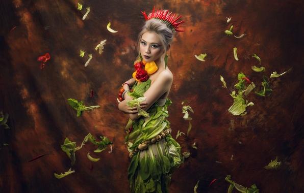 Картинка взгляд, листья, девушка, стиль, фон, грибы, корона, макияж, перец, азиатка, овощи, салат, паприка