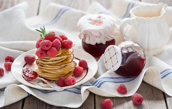 Картинка ягоды, малина, еда, ложка, блины, джем, варенье, блинчики, оладьи