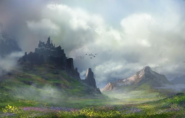 Картинка облака, цветы, горы, птицы, арт, нарисованный пейзаж