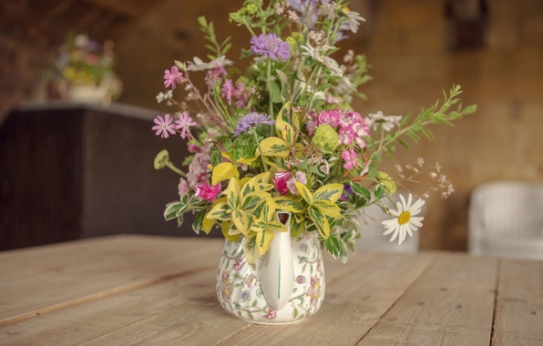 Картинка flowers, vase, bouquet, table, kettle