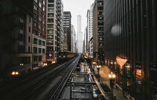 Картинка город, огни, блики, дождь, вечер, Чикаго, США