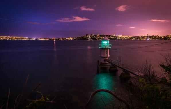 Картинка ночь, город, пролив, берег, маяк, Australia, Sydney, Bradley's Head
