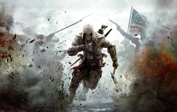 Картинка война, флаг, солдаты, америка, ассасин, Assassin's Creed III, Радунхагейду, индеец-полукровка, Коннор Кенуэй, Кредо Убийц 3