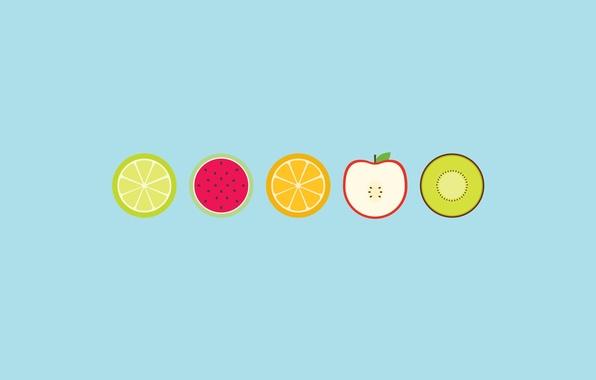 Картинка круги, яблоко, апельсин, арбуз, киви, лайм, фрукты
