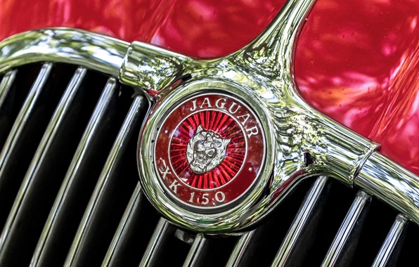 Картинка макро, ретро, Jaguar, эмблема, 1957, XK 150