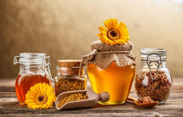 Картинка цветы, желтые, мед, баночки, ложка, банки, сладкое, прополис