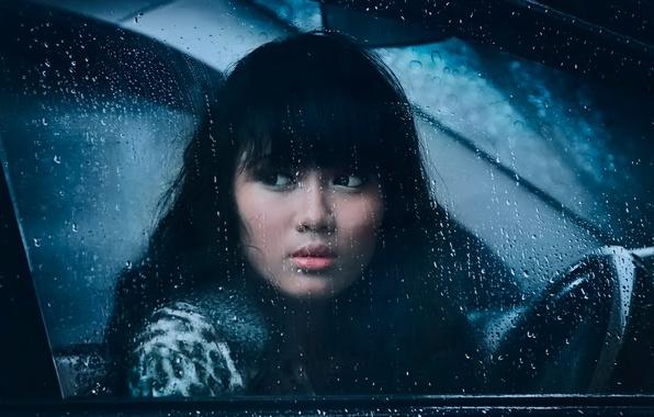 Картинка грусть, девушка, капли, дождь, окно