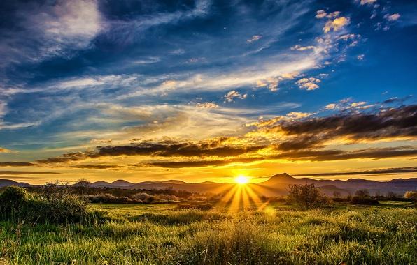 Фото обои закат, облака, трава, небо, лучи солнца, поле, зелень, горы