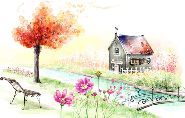 Картинка пейзаж, цветы, скамейка, мост, дом, река, дерево, рисунок