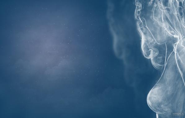 Картинка небо, девушка, женщина, дым, sky, smoke, девушка из дыма, smoke wooman, girl. woomam
