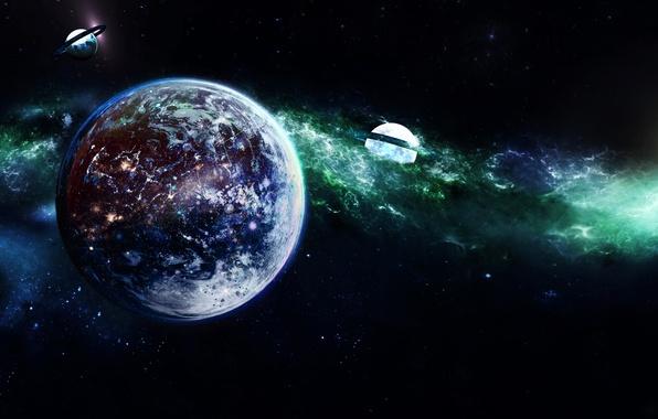 Картинка свет, туманность, вселенная, звезда, планета, спутник, кольца, галактика