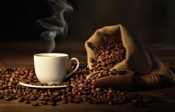 Картинка кофе, зерна, пар, чашка, напиток, мешок, блюдце