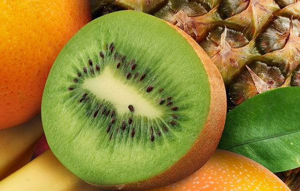 Картинка апельсин, киви, фрукты, ананас, банан, orange, banana, pineapple, kiwi, Fruits