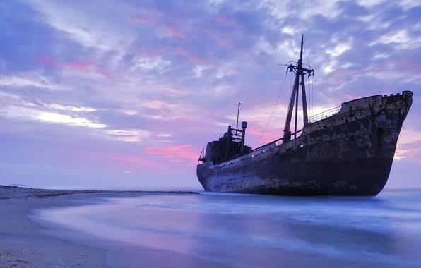Картинка песок, море, пляж, небо, берег, корабль, вечер, горизонт, судно