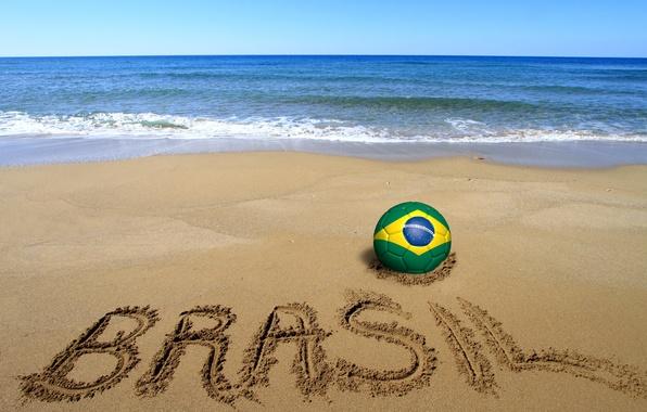 Картинка песок, море, пляж, футбол, мяч, beach, Бразилия, sand, football, flag, кубок мира, World Cup, Brasil, …