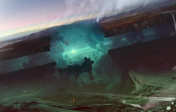 Картинка фантастика, земля, свечение, ядро