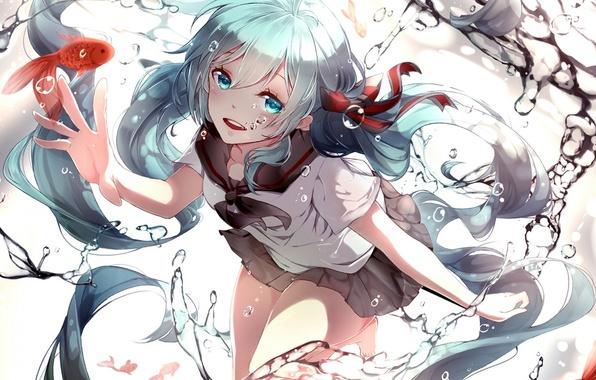 Картинка вода, девушка, рыбки, аниме, арт, форма, vocaloid, bottle miku, phino, jinko0094