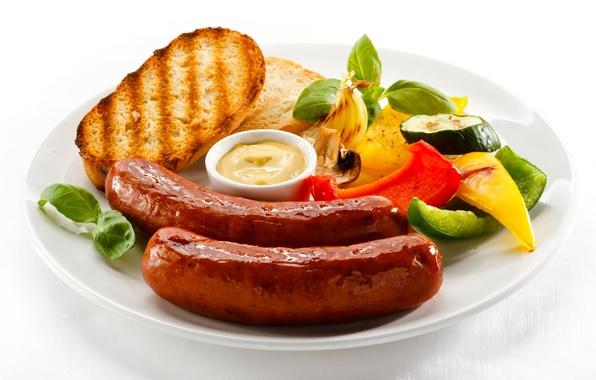 Картинка сосиски, еда, хлеб, овощи, соус