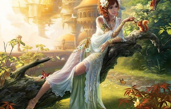 Картинка девушка, украшения, бабочки, цветы, город, ягоды, дерево, сад, арт, дорожка, ствол, белки, кормление