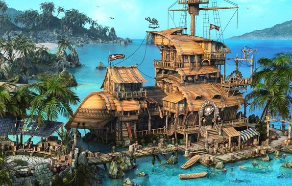 Картинка море, пальмы, корабль, пушки, лодки, флаг, пираты, форт, Pirates, sea, бочки, ship, rendering, boats, the …